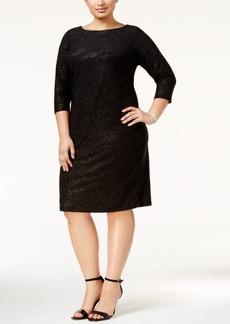 Calvin Klein Plus Size Striped Metallic Sheath Dress