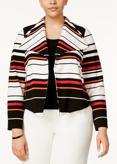 Calvin Klein Plus Size Striped Moto Jacket