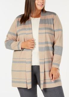Calvin Klein Plus Size Striped Open Cardigan