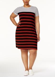 Calvin Klein Plus Size Striped T-Shirt Dress