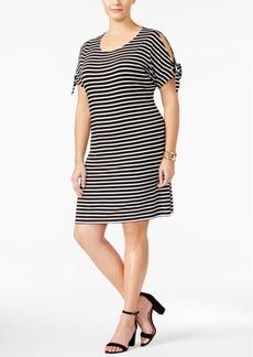 Calvin Klein Plus Size Striped Tie-Sleeve Dress