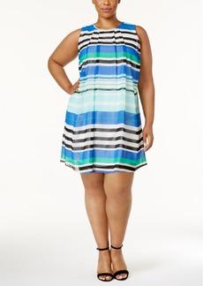 Calvin Klein Plus Size Striped Trapeze Dress