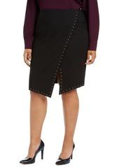 Calvin Klein Plus Size Studded Asymmetrical Skirt