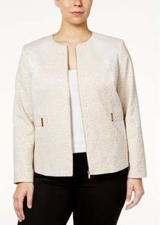 Calvin Klein Plus Size Textured Embellished Moto Jacket
