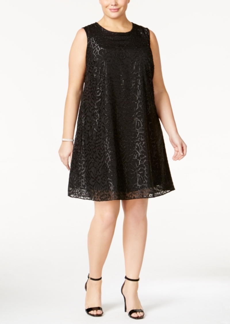 Calvin Klein Plus Size Textured Metallic Shift Dress