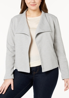 Calvin Klein Plus Size Textured Open-Front Jacket