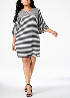 Calvin Klein Plus Size Textured-Stripe Shift Dress