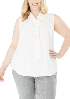 Calvin Klein Plus Size Tie-Neck Sleeveless Top
