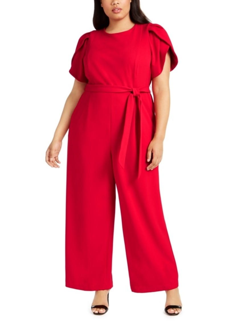 Calvin Klein Plus Size Tulip-Sleeve Belted Jumpsuit
