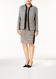Calvin Klein Plus Size Tweed Band-Collar Blazer