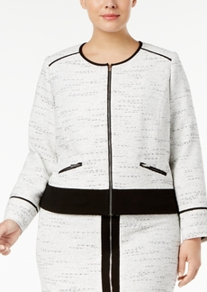 Calvin Klein Plus Size Tweed Colorblocked Jacket