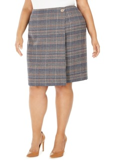 Calvin Klein Plus Size Plaid Tweed Pencil Skirt