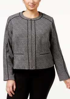 Calvin Klein Plus Size Tweed Piped Zip-Front Jacket