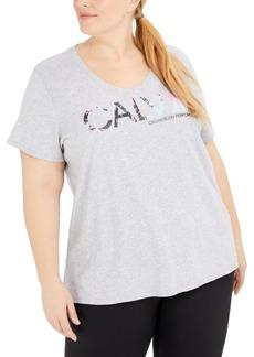 Calvin Klein Performance Plus Size V-Neck Logo T-Shirt