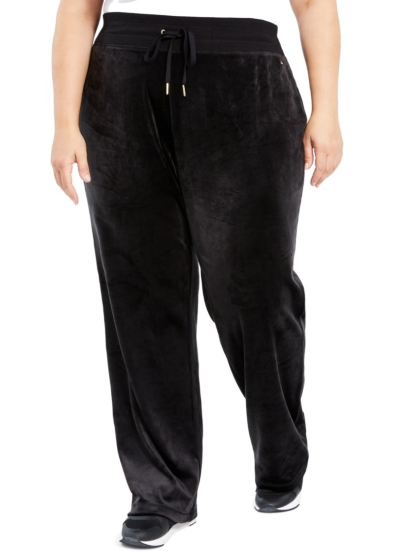 Calvin Klein Plus Size Velour Wide-Leg Pants