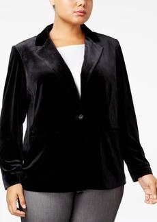 Calvin Klein Plus Size Velvet Single-Button Blazer