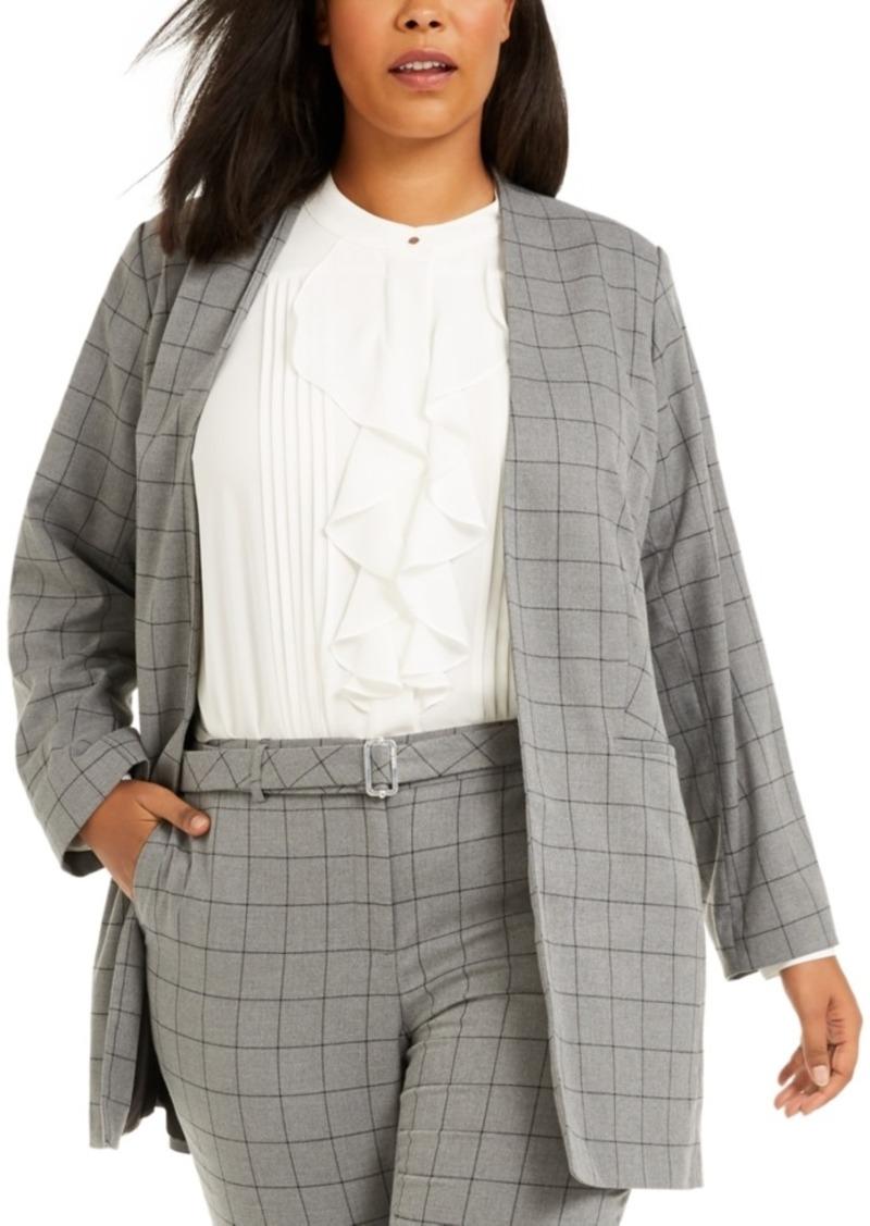 Calvin Klein Plus Size Windowpane Topper Jacket