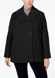 Calvin Klein Plus Size Wool-Cashmere-Blend Peacoat, Only at Macy's