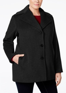 Calvin Klein Plus Size Wool-Cashmere Single-Breasted Peacoat, Only at Macy's