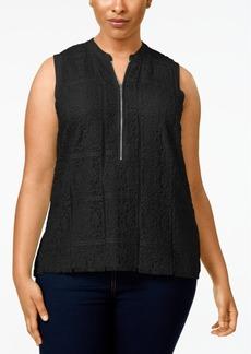 Calvin Klein Plus Size Zip-Front Lace Top