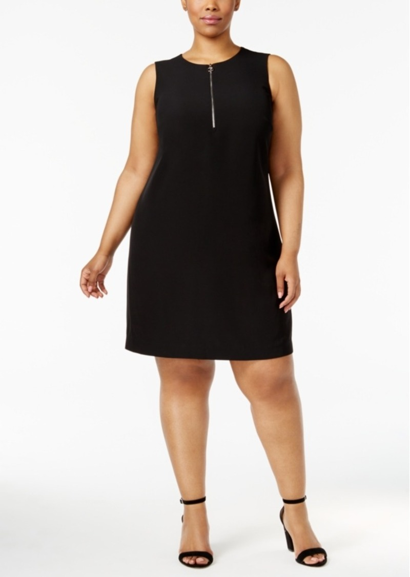 Plus Size Zip-Front Sheath Dress