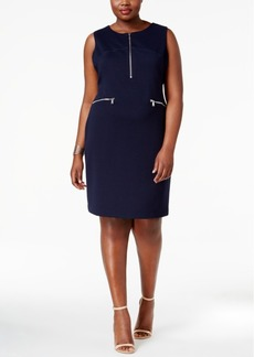 Calvin Klein Plus Size Zip-Front Sheath Dress