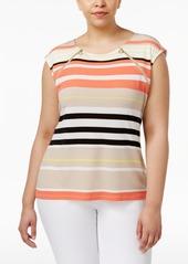 Calvin Klein Plus Size Zip-Shoulder Top