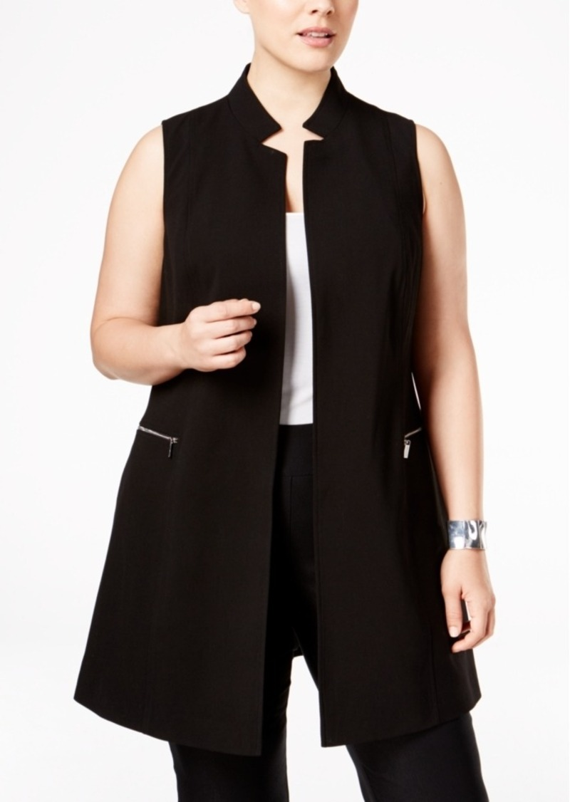 Calvin Klein Plus Size Zip-Trim Long Military Vest