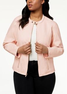Calvin Klein Plus Size Zipper-Detail Faux-Leather Jacket