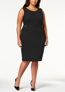 Calvin Klein Plus Size Zipper-Trim Sheath Dress