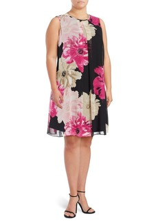 Calvin Klein Plus Sleeveless Floral Shift Dress