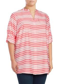 Calvin Klein Plus Splitneck Stripe Utility Blouse