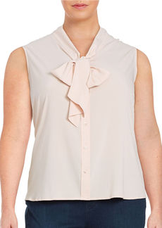 CALVIN KLEIN Plus Tie-Neck Blouse
