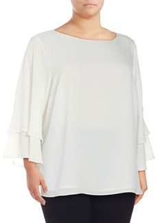 Calvin Klein Plus Tiered Bell-Sleeve Blouse