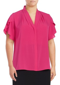 Calvin Klein Plus Tulip-Sleeve Blouse