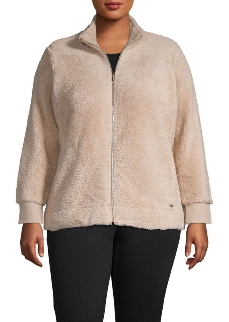 Calvin Klein Plus Zip-Front Plush Knit Jacket