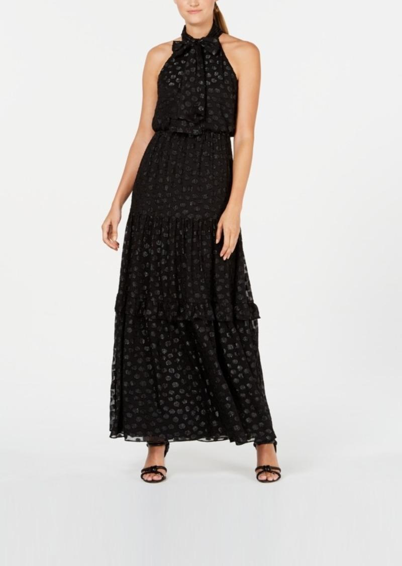Calvin Klein Polka-Dot Halter Gown