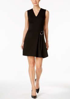 Calvin Klein Ponte Faux-Wrap Dress