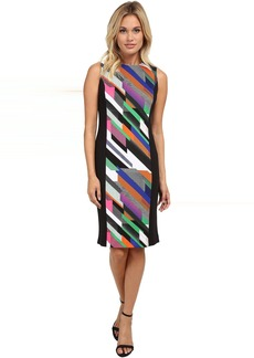 Print Blocked Scuba Sheath