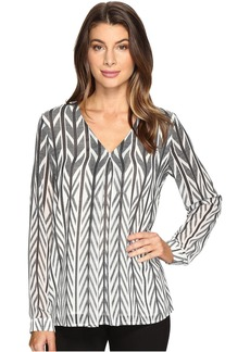 Calvin Klein Print Long Sleeve with Invert Pleat Top