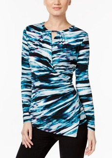 Calvin Klein Printed Asymmetrical Wrap Top