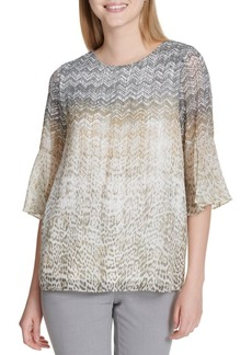 Calvin Klein Printed Bell Sleeve Blouse