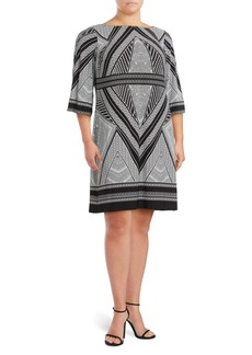 Calvin Klein Printed Boatneck Dress