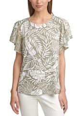 Calvin Klein Printed Chiffon-Sleeve Top