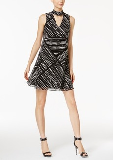 Calvin Klein Printed Choker Shift Dress