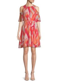 Calvin Klein Printed Cold-Shoulder Dress
