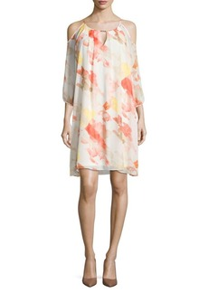 Calvin Klein Printed Cold-Shoulder Dress