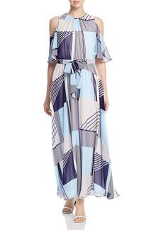 Calvin Klein Printed Cold Shoulder Maxi Dress