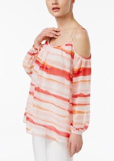 Calvin Klein Printed Cold-Shoulder Top, A Macy's Exclusive