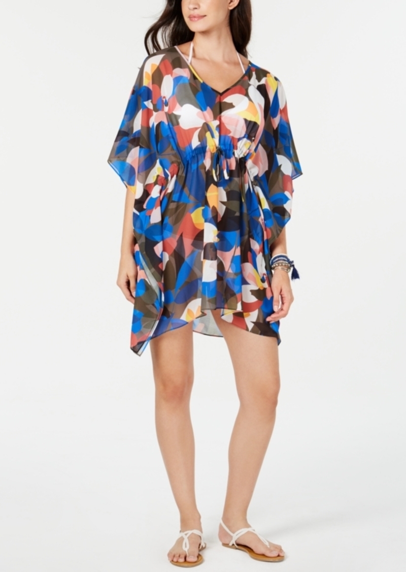 Calvin Klein Printed Drawstring-Waist Cover-Up Poncho Women's Swimsuit